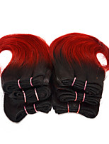 Good Cheap 6pcs/set Ombre Human Short Hair Weave Wet Wavy Ombre 2 tone Color #1B/red 8inch 150g