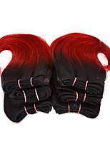 gute billige 6pcs / set ombre menschliche kurze Haare flechten nass wellig ombre 2 Klangfarbe # 1b / rot 8inch 150g