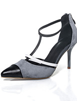 Women's Shoes Suede Stiletto Heel Heels / Pointed Toe Sandals Party & Evening / Dress / Casual Gray(Genuine leather)