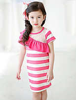 Girl's Black / Pink Dress,Striped Cotton Summer