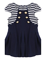 Girl's Black Clothing Set,Stripes Cotton Summer