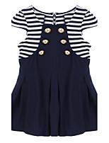 Girl's Black Clothing Set,Stripes Cotton Summer
