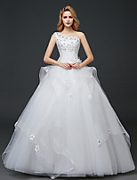 A-line Wedding Dress - White Floor-length One Shoulder Lace / Tulle