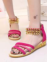 Women's Shoes Heel Peep Toe Sandals Outdoor / Dress / Casual Black / Red / Beige