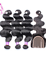 3 Bundles With Closure 6A Eurasian Body Wave With Closure Human Hair Weft With Closure 4Pcs Lot Natural Color
