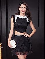 Cocktail Party Dress-Black Sheath/Column Jewel Short/Mini Lace