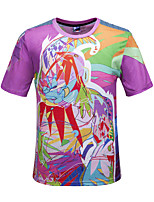 Polyester-Print-Heren-T-shirt-Informeel-Korte mouw
