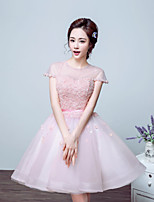 Cocktail Party Dress - Blushing Pink Ball Gown Jewel Floor-length Tulle