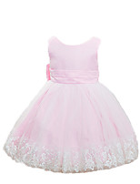 Girl's Pink / White Dress,Jacquard Polyester Summer / Spring / Fall