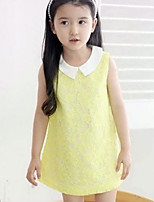 Girl's Blue / Yellow Dress,Jacquard Polyester Summer