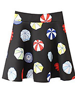 Women's Print Black Skirts,Street chic Mini