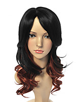 Fashion Synthetic Wigs Black Mixed Brown Color Wave Style Synthetic Wigs