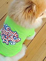 Perros Camiseta Verde / Azul / Rosado Verano / Primavera/Otoño Clásico / Letra y Número Moda-Lovoyager