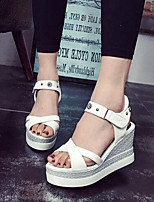 Women's Shoes Patent Leather Wedge Heel Peep Toe / Platform Sandals Outdoor / Casual White / Silver