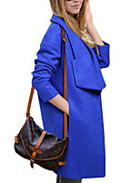 Women's Solid Blue / Pink Pea Coats,Simple Long Sleeve Wool