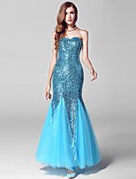 Formal Evening Dress-Ocean Blue Trumpet/Mermaid Sweetheart Ankle-length Tulle / Sequined