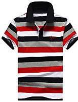 Men's Business Other Daily Casual Sports Simple Active Summer Polo,Striped Shirt Collar Short Sleeve 100%Cotton Medium