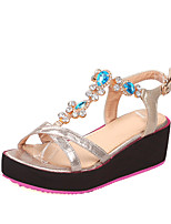 Women's Shoes  Wedge Heel Wedges / Open Toe Sandals Dress Blue / Silver / Gold