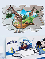 Giraffe Animals / Cartoon Wall Stickers 3D Wall Stickers,PVC 90*60cm