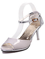 Women's Shoes Leatherette Stiletto Heel Heels / Peep Toe Sandals Party & Evening / Dress Pink / White / Gray