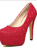 Women's Shoes Leatherette Stiletto Heel Heels Heels Wedding / Party & Evening Black / Red / Beige