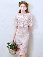 Knee-length Lace Bridesmaid Dress-Champagne Sheath/Column Jewel