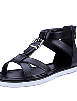 Women's Shoes Leather Flat Heel T-Strap / Comfort Sandals Outdoor / Office & Career Black