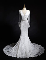 Trumpet/Mermaid Long Sleeves Wedding Dress-Ivory Chapel Train V-neck Lace