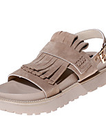 Chaussures Femme-Décontracté-Noir / Amande-Talon Plat-Gladiateur / Bout Arrondi / Bout Ouvert-Sandales-Similicuir