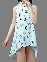 Girl's Blue / Pink / Purple / White Dress,Floral Cotton Summer