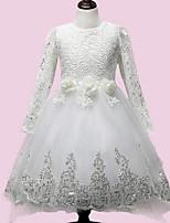 Girl's White Dress Polyester Summer / Spring / Fall