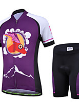 CHEJI Boy Girl Bicycle Cycling Bike Children Suit Jersey + Shorts For Kids Purple Antelope