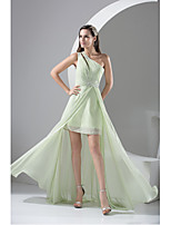 Formal Evening Dress-Sage Sheath/Column One Shoulder Floor-length Chiffon