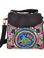 Women Canvas Flap Shoulder Bag-Multi-color