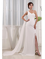 Formal Evening Dress-Ivory Trumpet/Mermaid One Shoulder Court Train Chiffon