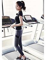 Mulheres Conjuntos de Roupas/Ternos Esporte Respirável / Redutor de Suor / Macio Preto S / M / L / XL Ioga / Pilates / Fitness / Corrida-