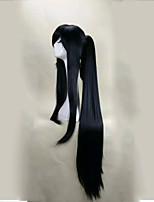Capless Black  Cosplay Wig  with Ponytail 120cm Super Long Straight  Synthetic Hair Wigs Suit for  Party