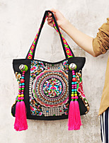 Women Canvas Shopper Shoulder Bag-Multi-color