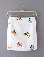 Women's Print White Skirts,Street chic Above Knee