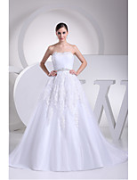 A-line Wedding Dress-Ivory Chapel Train Strapless Lace / Organza