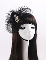 Coiffure Casque Mariage / Occasion spéciale / Casual Plume / Strass / Tulle / Organza Femme / Jeune bouquetièreMariage / Occasion