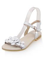 Scarpe Donna-Sandali-Formale / Casual-Con cinghia / Aperta-Piatto-Di pelle-Verde / Bianco / Beige