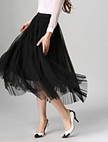 Women's New Style Fashion All Matches Grenadine Pleated Skirt Full-Skirted Dress Skirts Maxi Dresses