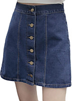 Women's Solid Blue Skirts,Vintage / Casual / Day Above Knee