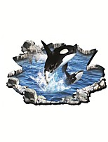 Shark Jumping Animals / Cartoon Wall Stickers 3D Wall Stickers or Surface Mount,PVC 90*60cm