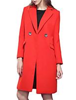 Women's Solid Red Coat,Simple Long Sleeve Wool
