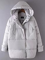 Women's Solid Black / Gray Padded Coat,Simple Hooded Long Sleeve