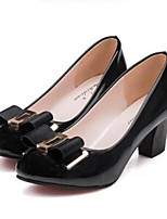 Calçados Femininos-Saltos-Saltos-Salto Grosso-Preto / Amarelo-Courino-Ar-Livre / Casual