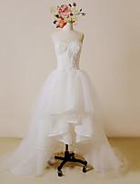 웨딩 드레스-아이보리(색상은 모니터에 따라 다를 수 있음) A 라인 비대칭 스윗하트 레이스 / 사틴 / 튤