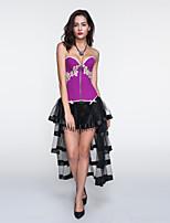 Women Bustier Overbust Waist Cincher Corset,Lingerie Shaperwear Purple